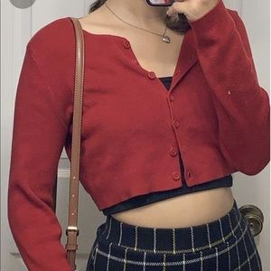 brandy red cropped cardigan button up long sleeve